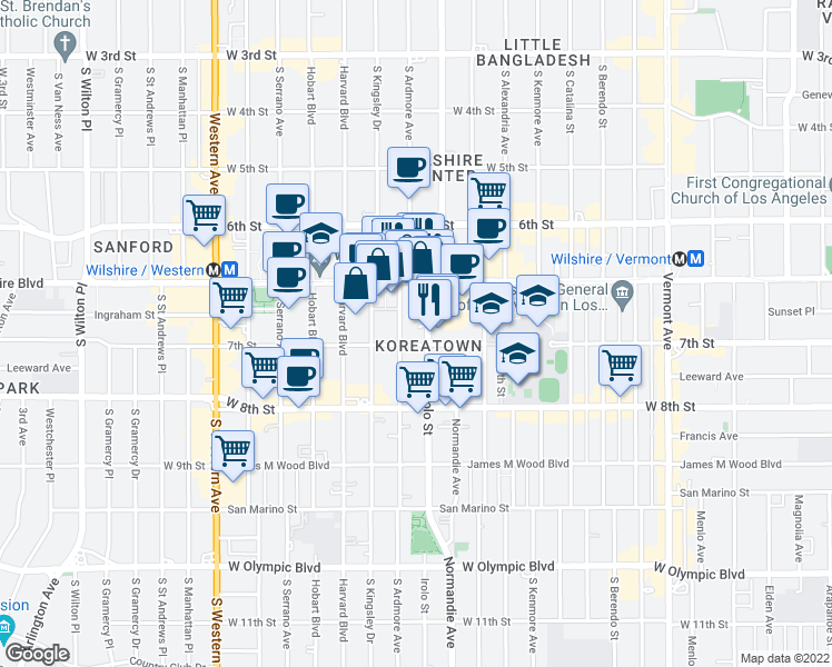 map of restaurants, bars, coffee shops, grocery stores, and more near 691 Irolo Street in Los Angeles