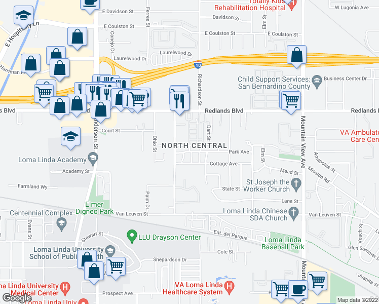 map of restaurants, bars, coffee shops, grocery stores, and more near 55-99 Willa Street in Loma Linda