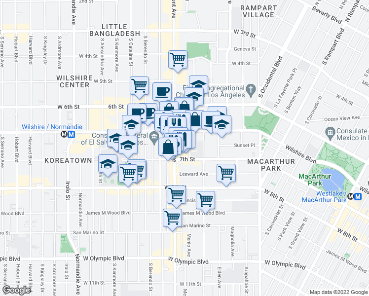 map of restaurants, bars, coffee shops, grocery stores, and more near 681 Shatto Place in Los Angeles