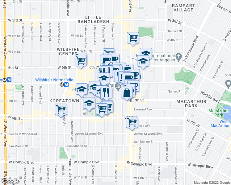 map of restaurants, bars, coffee shops, grocery stores, and more near 680 South Berendo Street in Los Angeles