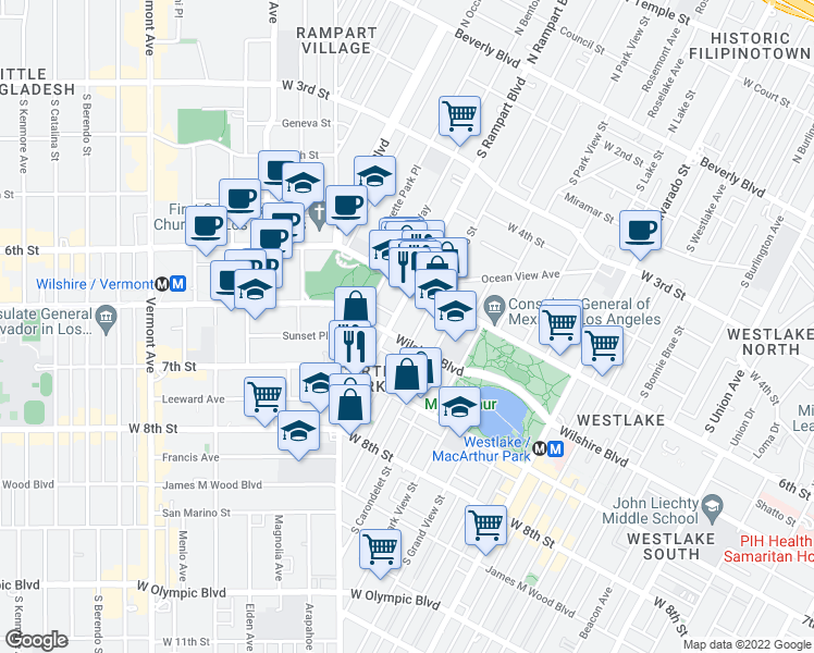 map of restaurants, bars, coffee shops, grocery stores, and more near 2601 Wilshire Boulevard in Los Angeles