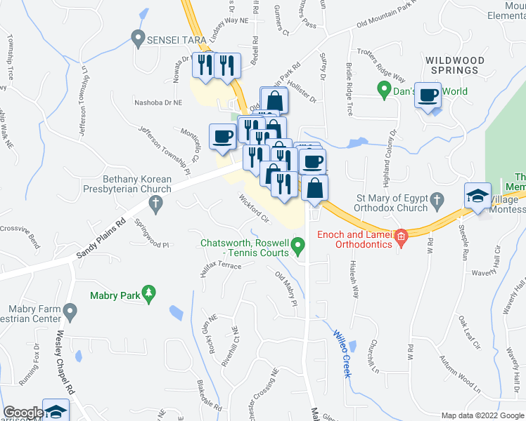map of restaurants, bars, coffee shops, grocery stores, and more near 4609 Wickford Circle in Roswell