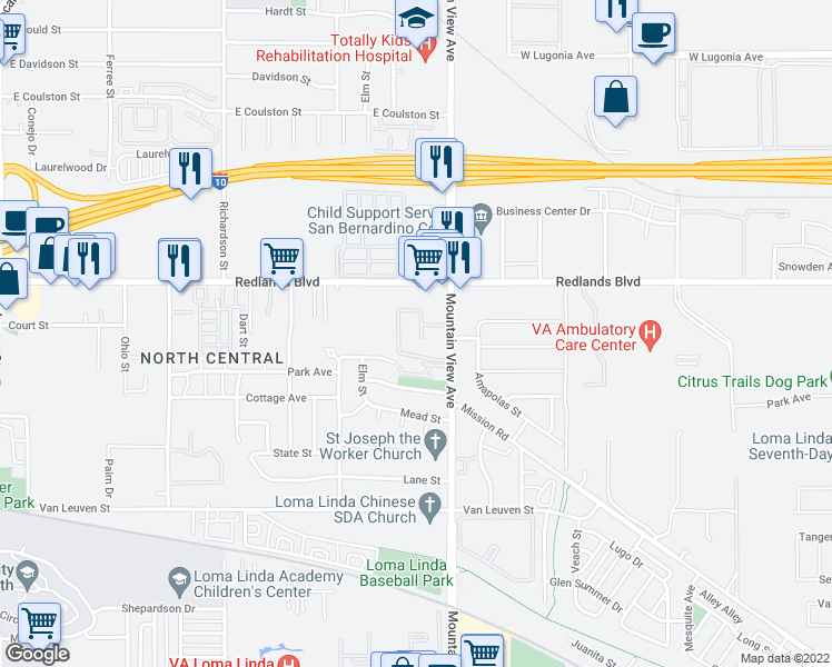 map of restaurants, bars, coffee shops, grocery stores, and more near 10558 Mountain View Avenue in Redlands