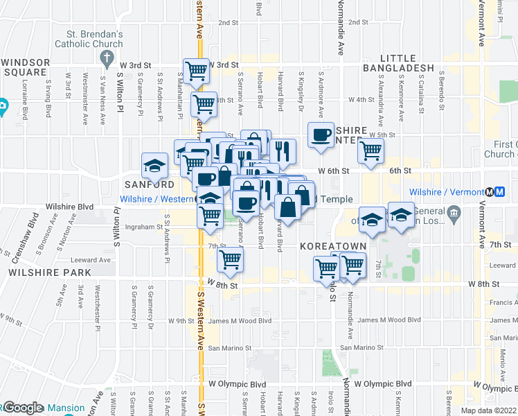 map of restaurants, bars, coffee shops, grocery stores, and more near 3663 Wilshire Boulevard in Los Angeles