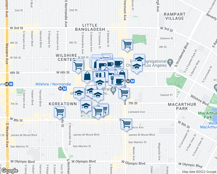 map of restaurants, bars, coffee shops, grocery stores, and more near Wilshire Boulevard & South Berendo Street in Los Angeles