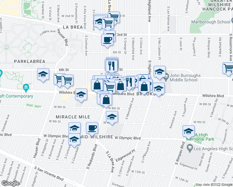 map of restaurants, bars, coffee shops, grocery stores, and more near 5162 Wilshire Boulevard in Los Angeles