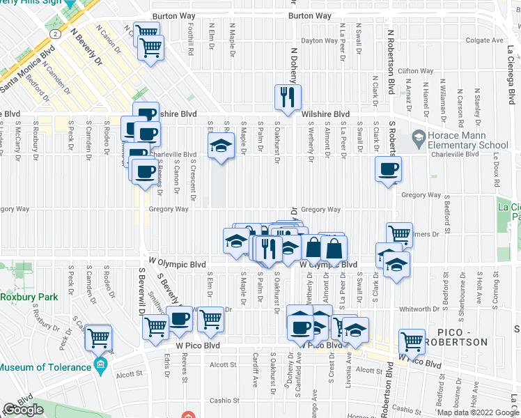 map of restaurants, bars, coffee shops, grocery stores, and more near South Palm Drive in Beverly Hills