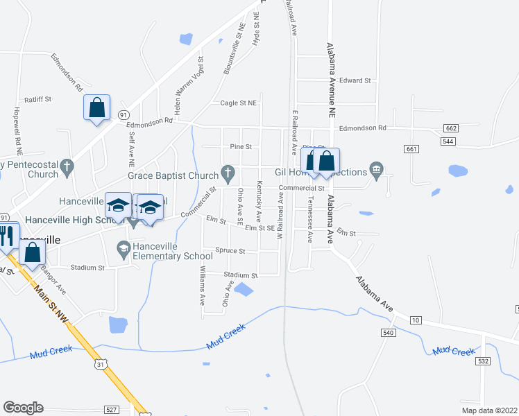 map of restaurants, bars, coffee shops, grocery stores, and more near Kentucky Avenue in Hanceville
