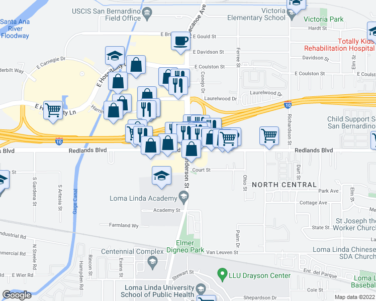 map of restaurants, bars, coffee shops, grocery stores, and more near 25101 Redlands Boulevard in Loma Linda