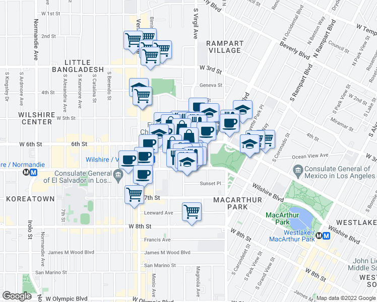 map of restaurants, bars, coffee shops, grocery stores, and more near 615 South Virgil Avenue in Los Angeles