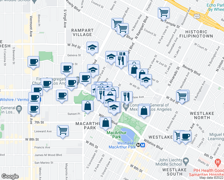 map of restaurants, bars, coffee shops, grocery stores, and more near 446 South Rampart Boulevard in Los Angeles