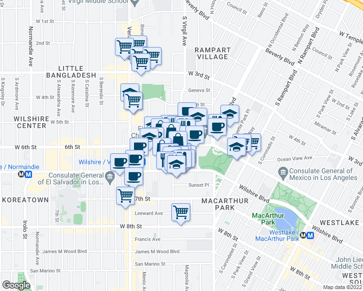 map of restaurants, bars, coffee shops, grocery stores, and more near 600 South Virgil Avenue in Los Angeles