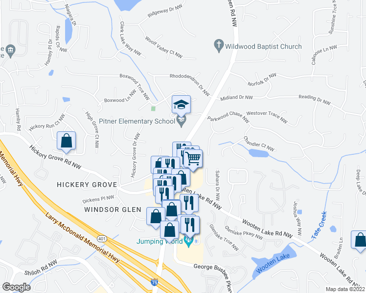 map of restaurants, bars, coffee shops, grocery stores, and more near 4558-4570 Wade Green Road Northwest in Acworth