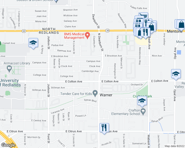 map of restaurants, bars, coffee shops, grocery stores, and more near 909 Belinda Lane in Redlands