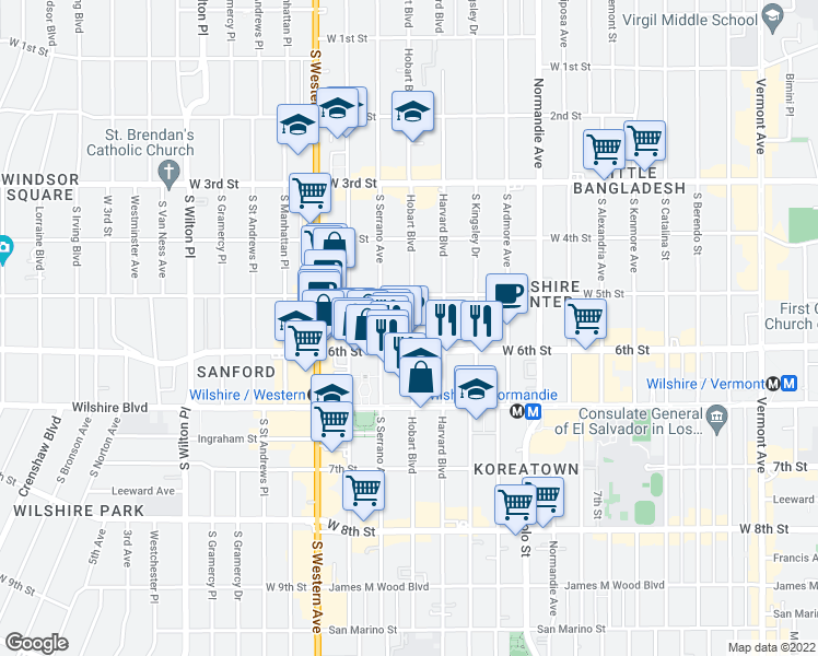 map of restaurants, bars, coffee shops, grocery stores, and more near 535 South Hobart Boulevard in Los Angeles