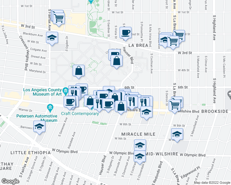 map of restaurants, bars, coffee shops, grocery stores, and more near 616 Masselin Avenue in Los Angeles