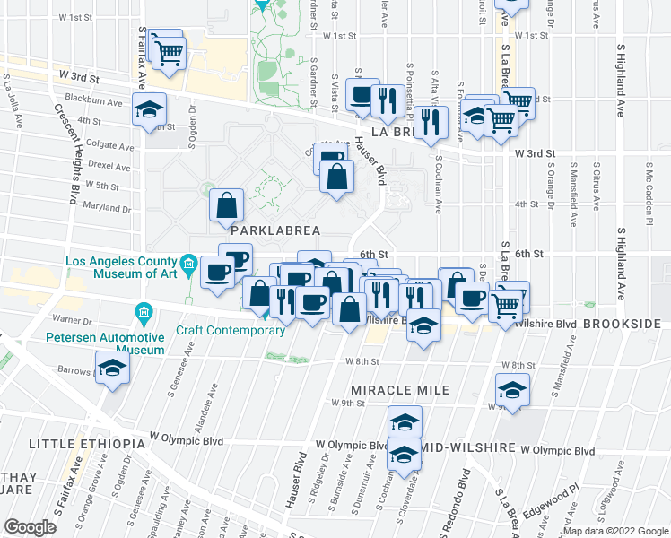 map of restaurants, bars, coffee shops, grocery stores, and more near 616 South Masselin Avenue in Los Angeles