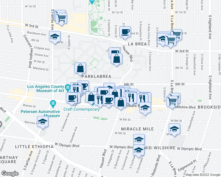 map of restaurants, bars, coffee shops, grocery stores, and more near 5700 West 6th Street in Los Angeles