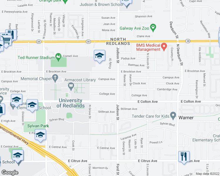 map of restaurants, bars, coffee shops, grocery stores, and more near 1326 Clock Avenue in Redlands