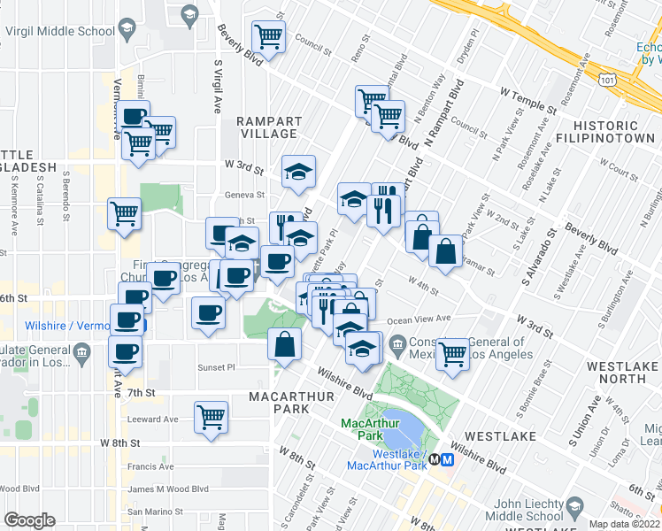 map of restaurants, bars, coffee shops, grocery stores, and more near 420 South La Fayette Park Place in Los Angeles
