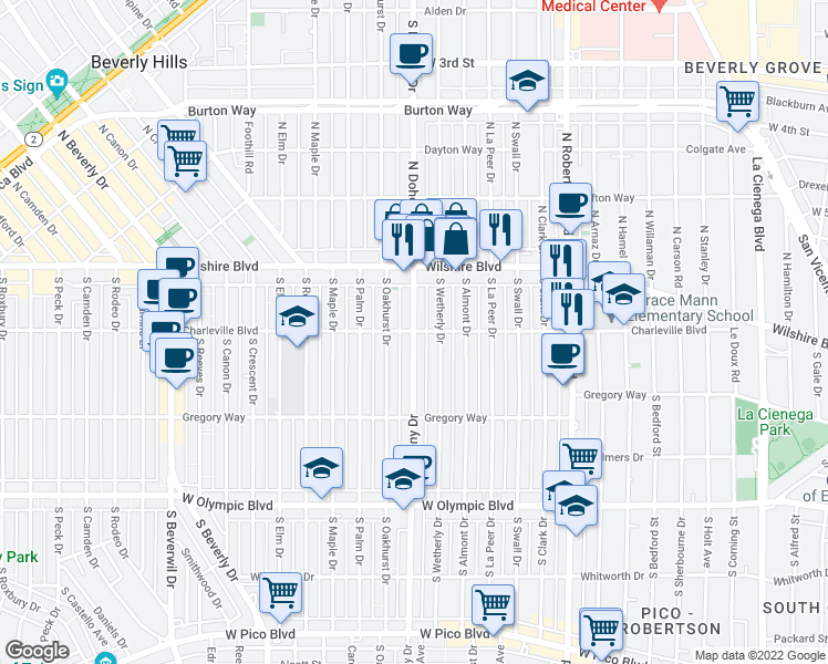 map of restaurants, bars, coffee shops, grocery stores, and more near S Doheny Dr in Beverly Hills