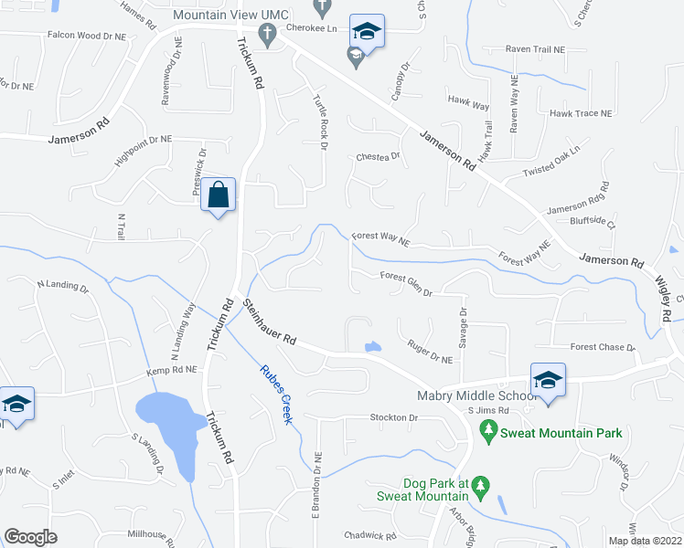 map of restaurants, bars, coffee shops, grocery stores, and more near 2633 Forest Way Northeast in Marietta