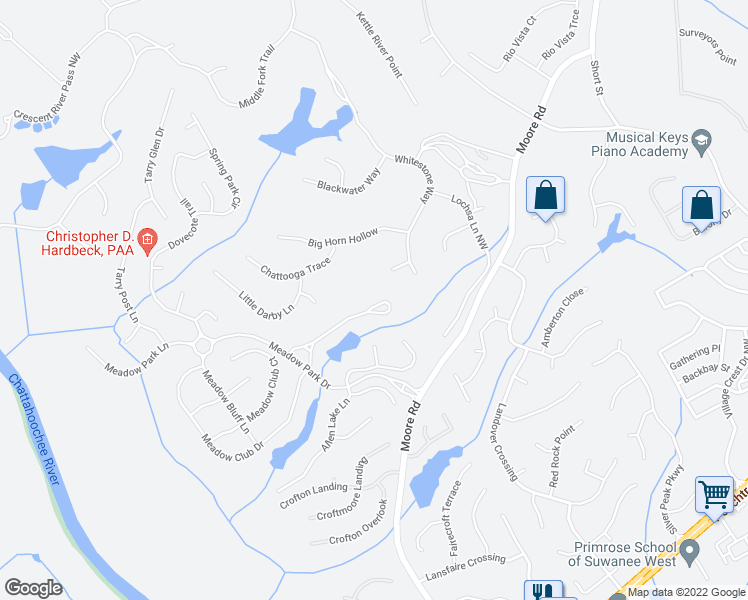 map of restaurants, bars, coffee shops, grocery stores, and more near 941 Moores Walk Lane in Suwanee
