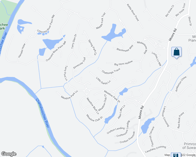 map of restaurants, bars, coffee shops, grocery stores, and more near Little Darby Lane in Suwanee