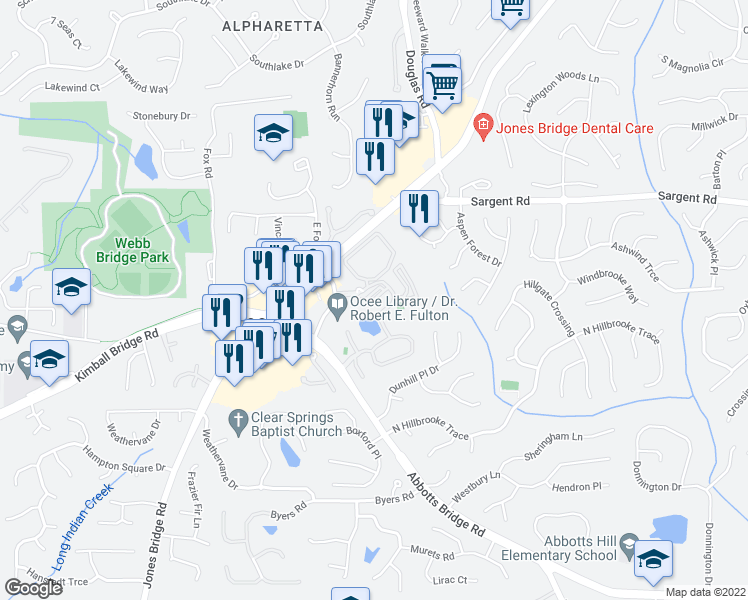 map of restaurants, bars, coffee shops, grocery stores, and more near Addison Lane in Alpharetta