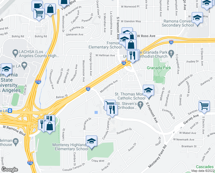 map of restaurants, bars, coffee shops, grocery stores, and more near Montezuma Avenue in Alhambra