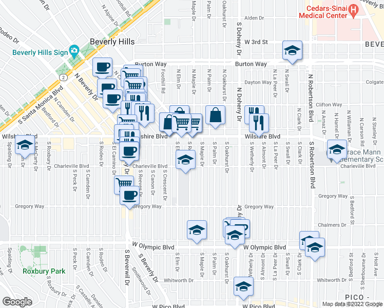 map of restaurants, bars, coffee shops, grocery stores, and more near 9250 Wilshire Boulevard in Beverly Hills
