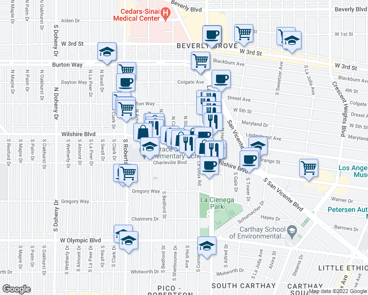 map of restaurants, bars, coffee shops, grocery stores, and more near 8601 Wilshire Boulevard in Beverly Hills