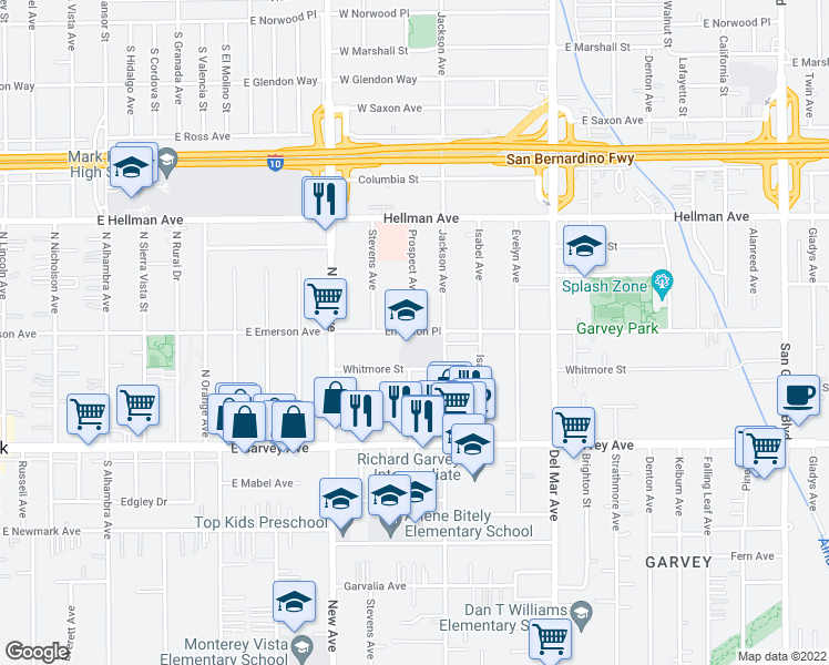 map of restaurants, bars, coffee shops, grocery stores, and more near 3209 Prospect Avenue in Rosemead