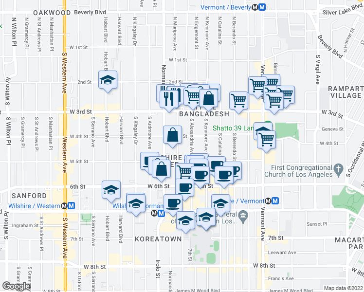 map of restaurants, bars, coffee shops, grocery stores, and more near 422 South Mariposa Avenue in Los Angeles