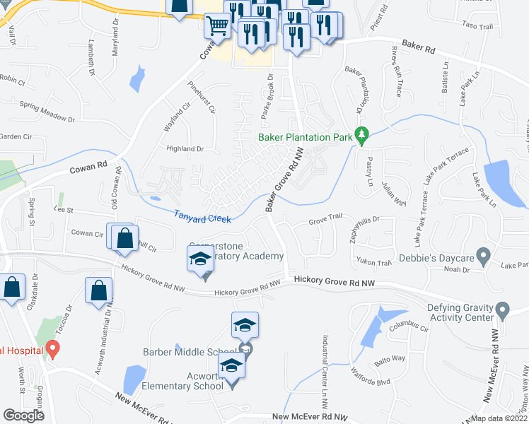 map of restaurants, bars, coffee shops, grocery stores, and more near 3300 Grove Park Terrace in Acworth