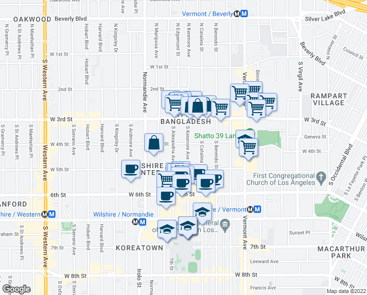 map of restaurants, bars, coffee shops, grocery stores, and more near 420 South Alexandria Avenue in Los Angeles