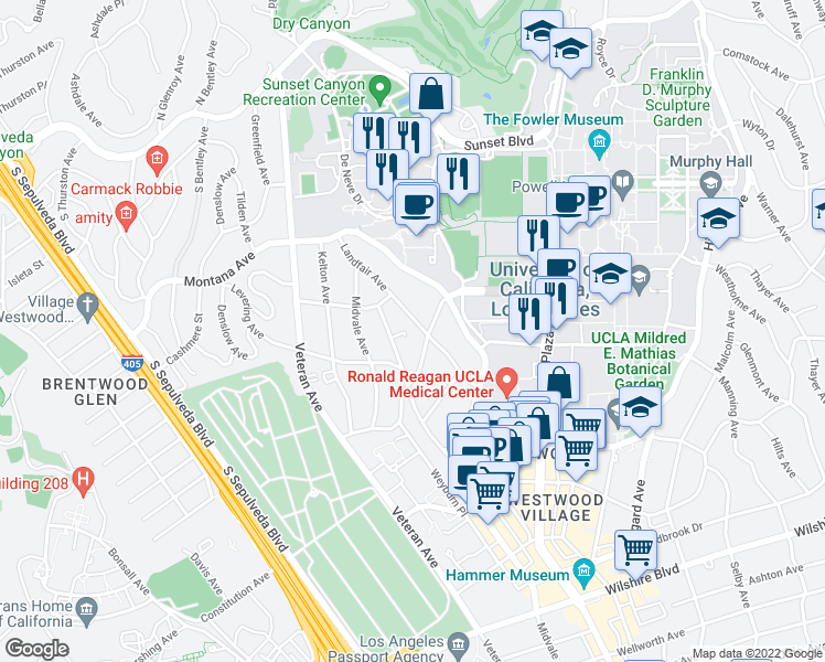 map of restaurants, bars, coffee shops, grocery stores, and more near 543 Landfair Ave in Los Angeles
