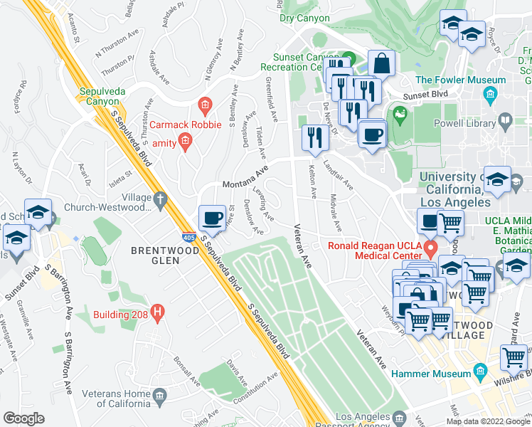 map of restaurants, bars, coffee shops, grocery stores, and more near Levering Avenue & Denslow Avenue in Los Angeles