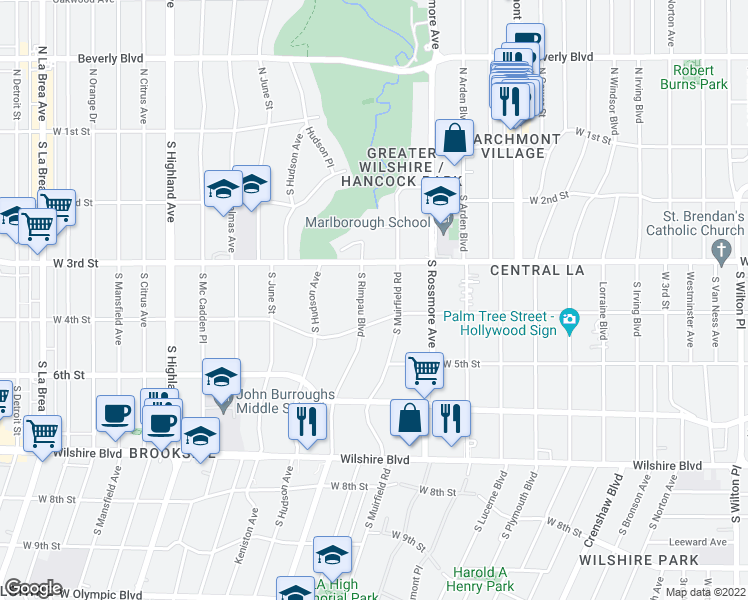 map of restaurants, bars, coffee shops, grocery stores, and more near 344 South Rimpau Boulevard in Los Angeles