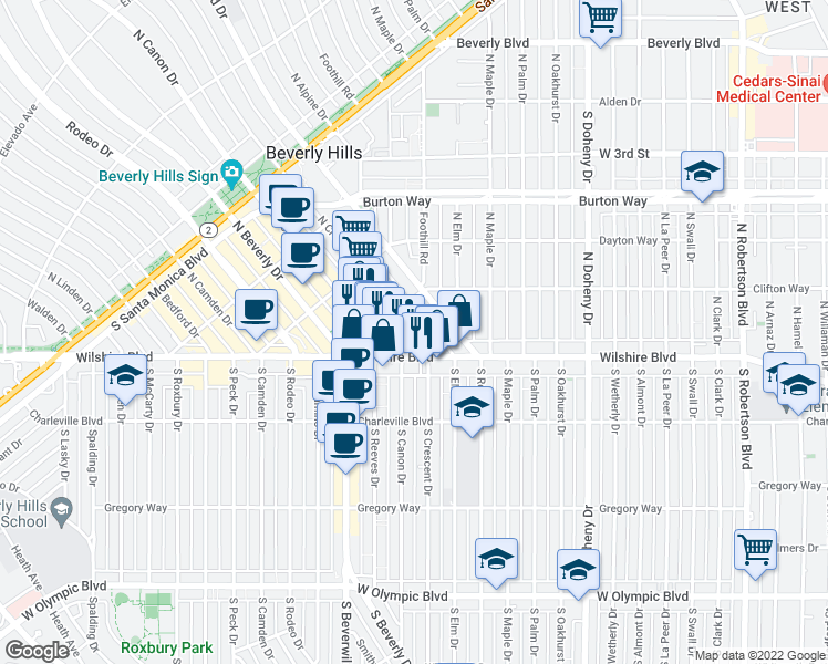 map of restaurants, bars, coffee shops, grocery stores, and more near 100 North Crescent Drive in Beverly Hills