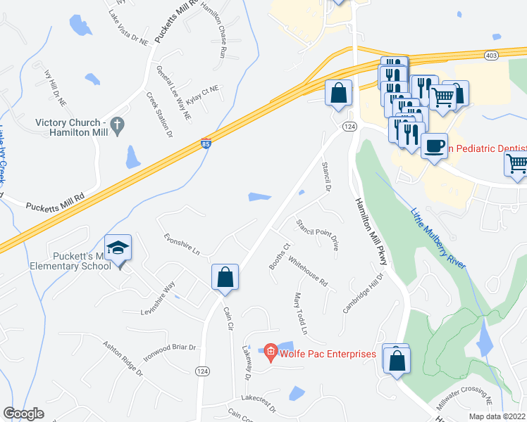 map of restaurants, bars, coffee shops, grocery stores, and more near 3208 Evonshire Lane in Dacula