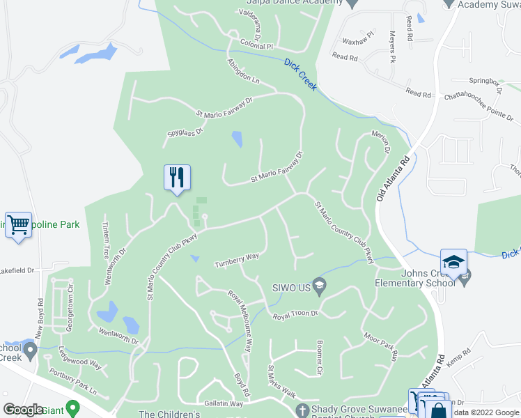 map of restaurants, bars, coffee shops, grocery stores, and more near 7905 Saint Marlo Country Club Parkway in Duluth