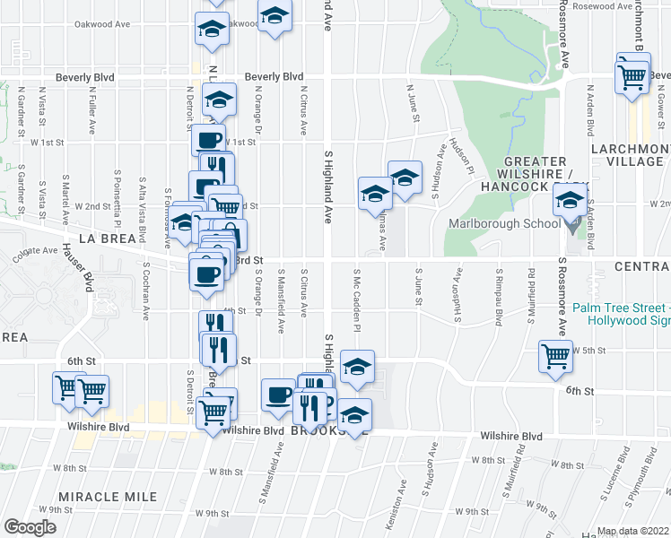 map of restaurants, bars, coffee shops, grocery stores, and more near 308 South Highland Avenue in Los Angeles