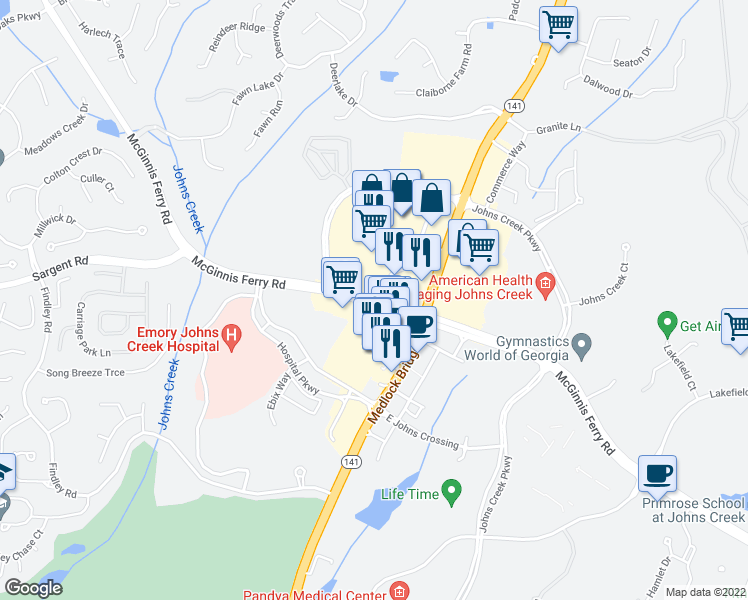 map of restaurants, bars, coffee shops, grocery stores, and more near 6395 McGinnis Ferry Road in Johns Creek
