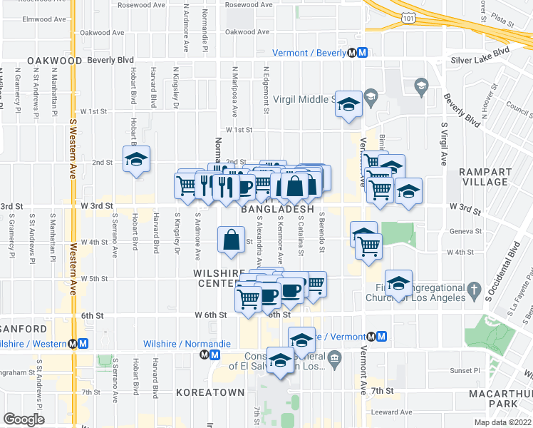 map of restaurants, bars, coffee shops, grocery stores, and more near 314 South Alexandria Avenue in Los Angeles