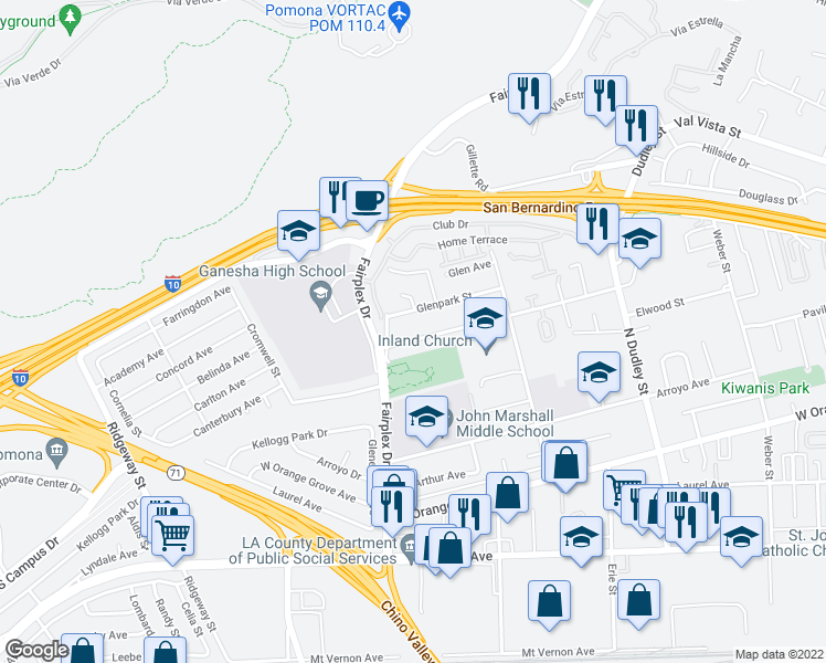map of restaurants, bars, coffee shops, grocery stores, and more near 1851 Elwood Avenue in Pomona