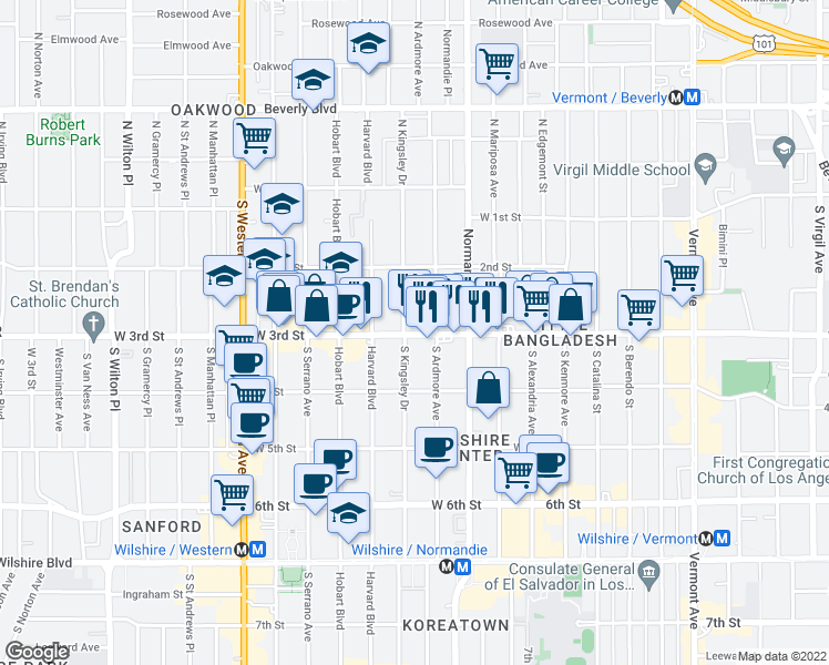 map of restaurants, bars, coffee shops, grocery stores, and more near 4077 West 3rd Street in Los Angeles
