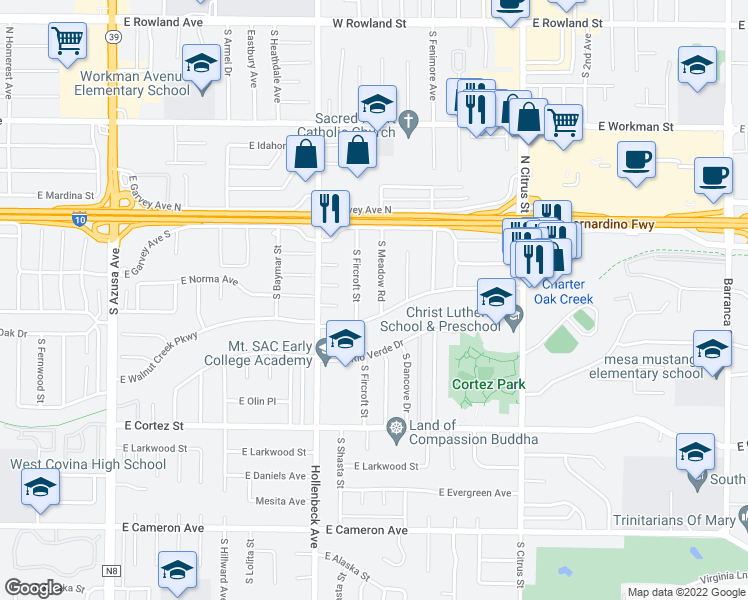map of restaurants, bars, coffee shops, grocery stores, and more near 227 South Meadow Road in West Covina