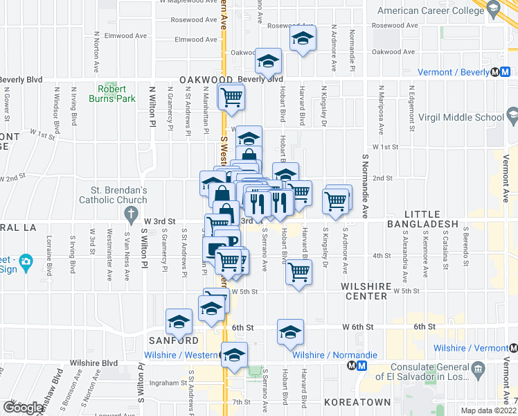 map of restaurants, bars, coffee shops, grocery stores, and more near 245 South Serrano Avenue in Los Angeles