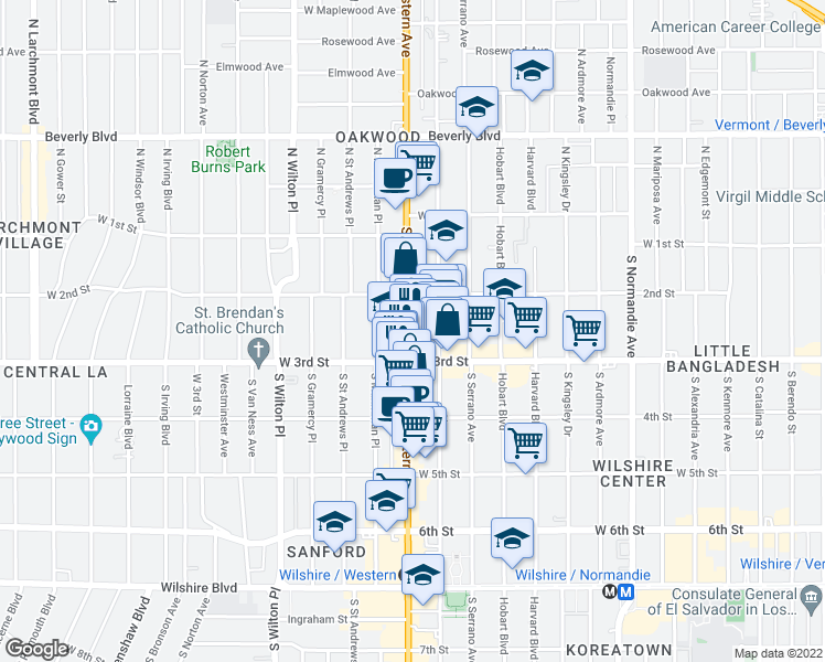 map of restaurants, bars, coffee shops, grocery stores, and more near 240 Western Avenue in Los Angeles